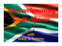 I am an Honorary South African!